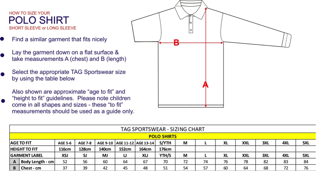 polo shirt sizing