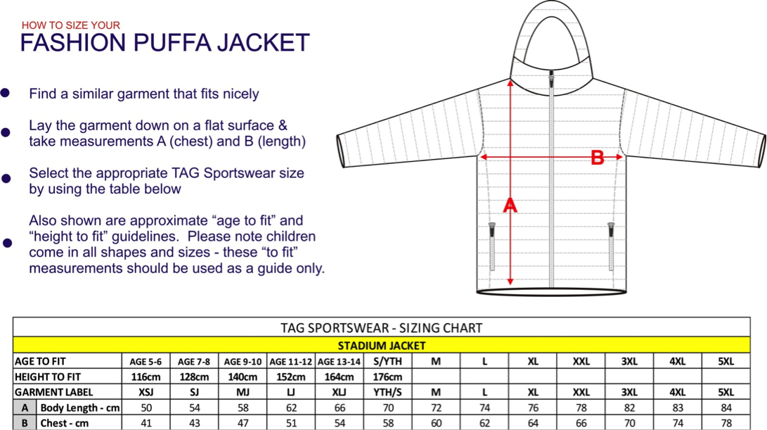 puffa jacket sizing