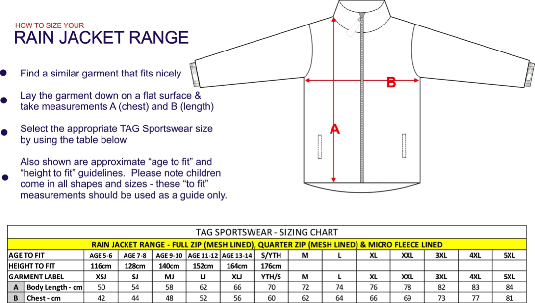 rain jacket sizing