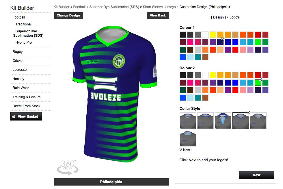 bespoke football kit builder