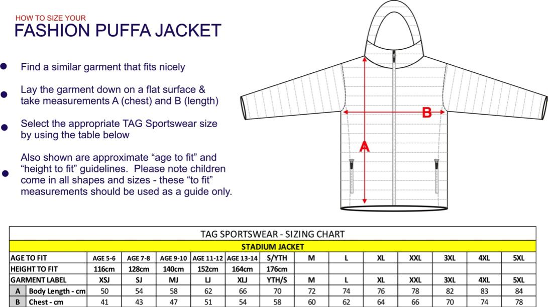 puffa jacket sizing